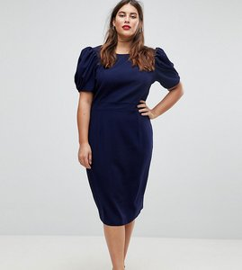 Read more about Asos design curve midi pencil dress - navy