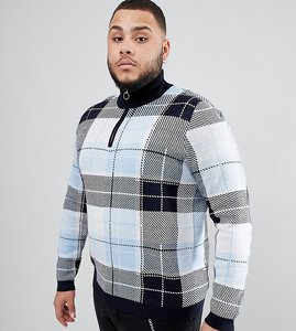 21c22feee4b99e Read more about Asos design plus knitted turtle neck check jumper with zip  in blue