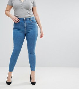 Read more about Asos design curve ridley high waist skinny jeans in light wash - lily mid wash