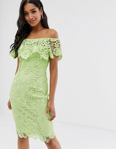 Read more about Paper dolls bardot lace pencil dress with frill detail in lime