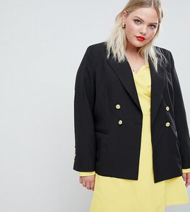 Read more about Unique 21 hero jersey blazer with gold button detail - black