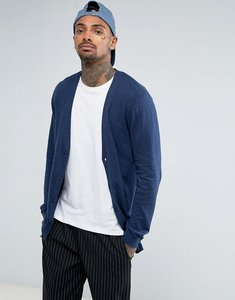 Read more about Asos longline cotton cardigan in relaxed fit in navy - navy