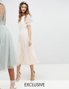 Read more about Tfnc wedding pleated midi dress with spot mesh frill detail - nude