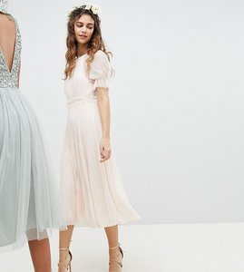 Read more about Tfnc pleated midi bridesmaid dress with spot mesh frill detail - nude