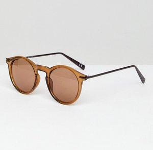 Read more about Asos round sunglasses with metal arms in brown - multi