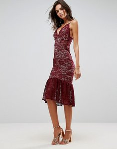 Read more about Asos lace plunge pephem midi dress - red