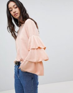 Read more about Only ruffle layered sleeve lightweight jumper - cameo rose