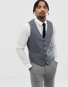 Read more about Asos wedding super skinny suit waistcoat in herringbone blue wool blend - blue