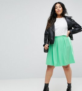 Read more about Asos curve mini skater skirt with box pleats - green