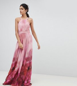 Read more about Little mistress tall high neck full bloom floral maxi dress - multi