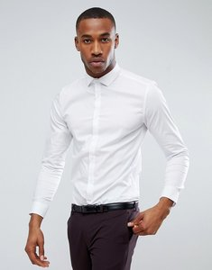Read more about Burton menswear skinny fit smart shirt in dobby stretch - white