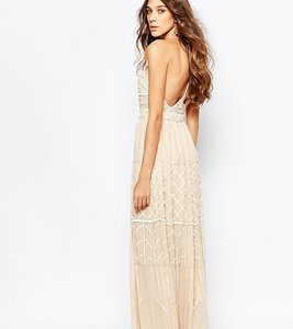 Read more about Frock and frill embellished plunge neck maxi dress with open back - nude