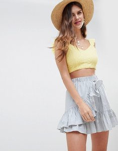 Read more about Asos design cotton mini skater skirt with wrap hem in stripe - multi