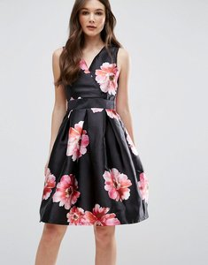Read more about Qed london floral skater dress - black pink