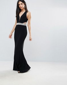 Read more about Forever unique plunge maxi dress with cutout - black