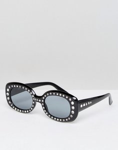 Read more about Asos 90 s square embellished sunglasses - black