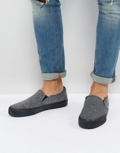 Read more about Asos slip on plimsolls in grey jersey with fleck - grey
