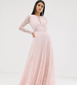 Read more about Asos design tall maxi dress with long sleeve and lace panelled bodice