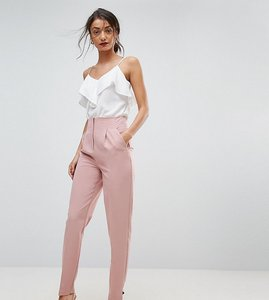Read more about Asos tall mix match high waist cigarette trouser - nude