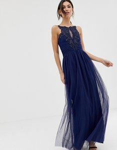 Read more about Little mistress applique high neck maxi dress - navy
