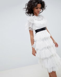 Read more about Needle thread tiered tulle midi dress in pearl - pearl