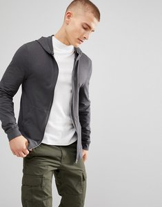 Read more about Asos lightweight muscle zip up hoodie in washed black - bal