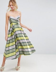 Read more about Asos salon bandeau stripe midi prom dress - multi