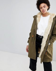 Read more about Parka london connie military parka coat with faux fur lining