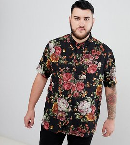 Read more about Asos design plus regular fit floral tapestry style shirt in black - black