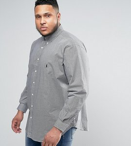 Read more about Polo ralph lauren plus gingham check shirt slim fit buttondown in black - black white