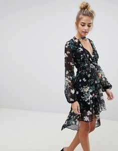 Read more about Bershka floral asymmetric floaty dress - multi