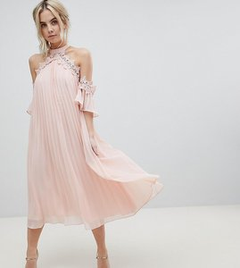 e9d132b6e80a0 Read more about True decadence petite pleated swing dress with cold  shoulder detail - pale peach