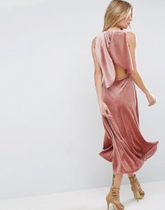 Read more about Asos velvet metallic drape open back midi dress - pink