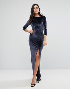 Read more about Y a s velvet maxi long sleeved dress - night sky