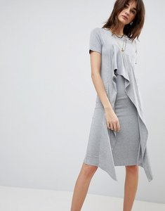 Read more about Asos midi t-shirt dress with frill front - grey marl