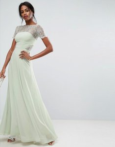 Read more about Asos lace insert panelled maxi dress - mint