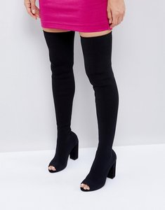 Read more about Asos kandy knit over the knee boots - black