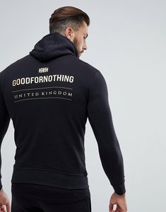 Read more about Good for nothing hoodie in black with gold logo back print - black
