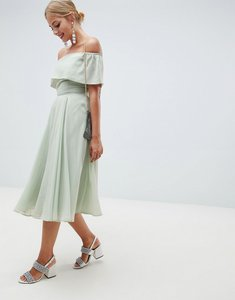 Read more about Asos design bardot midi prom dress - green
