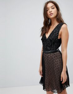 Read more about French connection leather detail dress - black