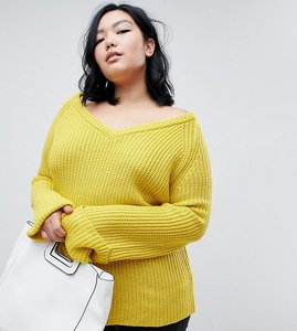 Read more about Lost ink plus relaxed jumper with v neck in chunky knit - yellow