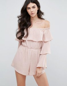 Read more about Love other things bardot playsuit with frill sleeves - pink