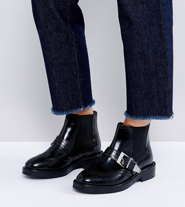 Read more about Asos anthem wide fit leather ankle boots - black