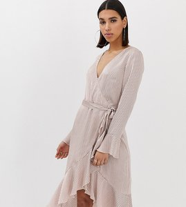 Read more about Missguided wrap front dress with frill in pink stripe