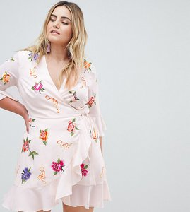 Read more about Asos design curve embroidered wrap mini dress - multi