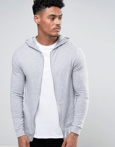 Read more about Asos lightweight muscle zip up hoodie in grey marl - grey marl