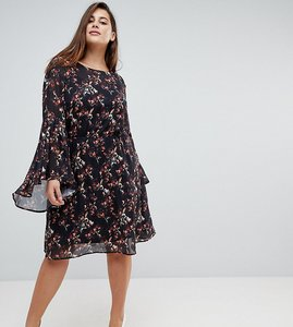 Read more about Unique 21 hero smock dress with frill sleeve in autumn blossom print - black multi