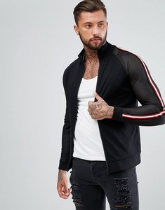 Read more about Asos jersey track jacket with mesh sleeves taping - black