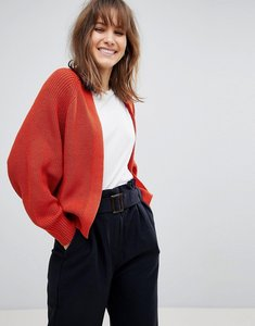 Read more about Asos design eco chunky cardigan in soft yarn - rust