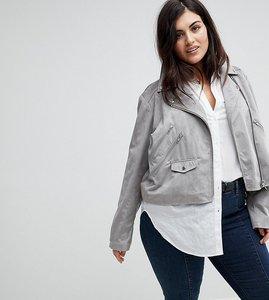 Read more about Asos curve suedette biker jacket - grey